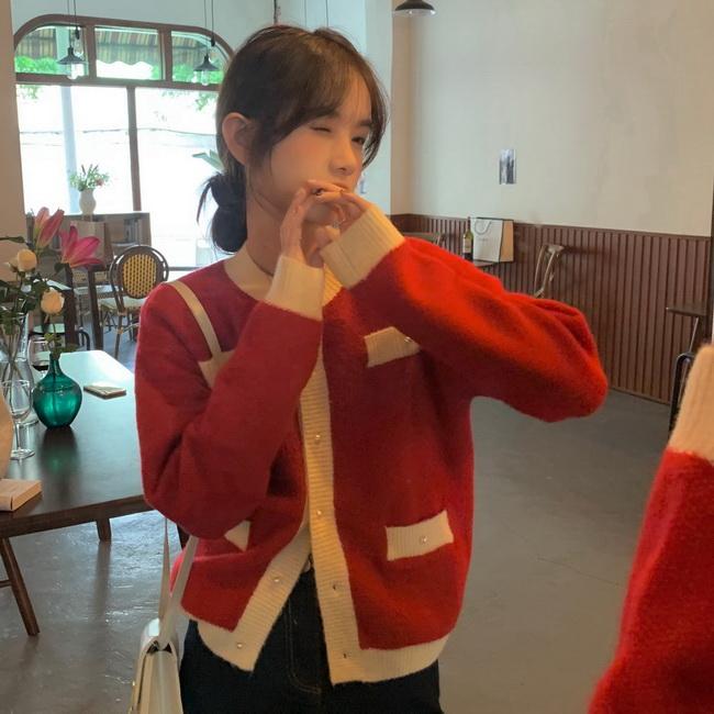 FOFU-紅色Bling針織罩衫女寬鬆撞色小香風毛衣外套【08SG04654】