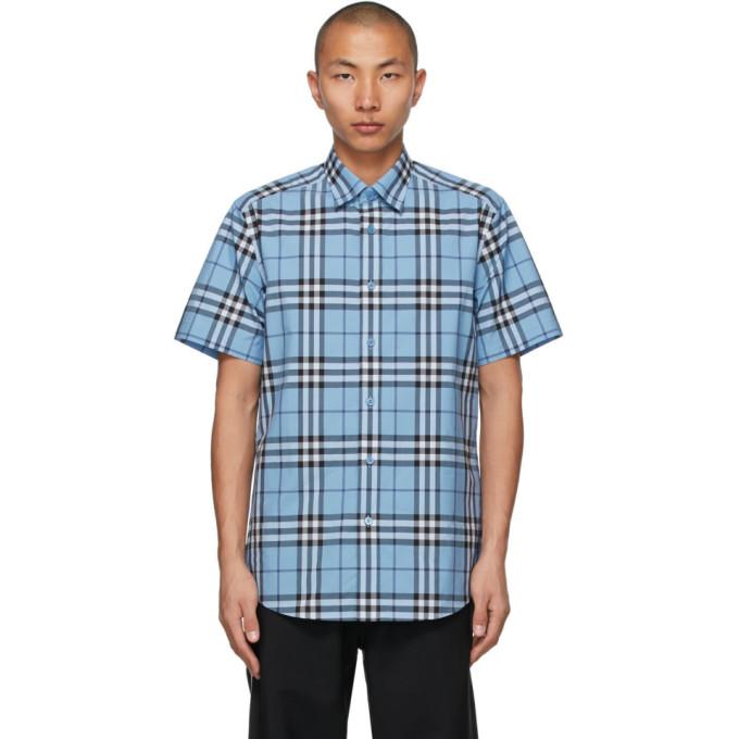 Burberry 蓝色格纹短袖衬衫