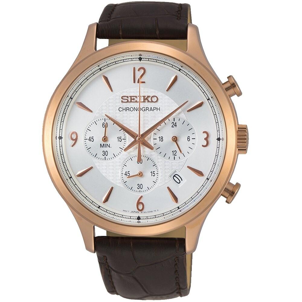 SEIKO精工經典時尚計時手錶 8T63-00M0K SSB342P1