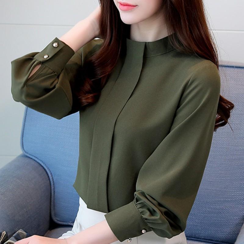 2021春秋裝新款韓版大碼寬松打底衫上衣女立領襯衫百搭長袖雪紡衫