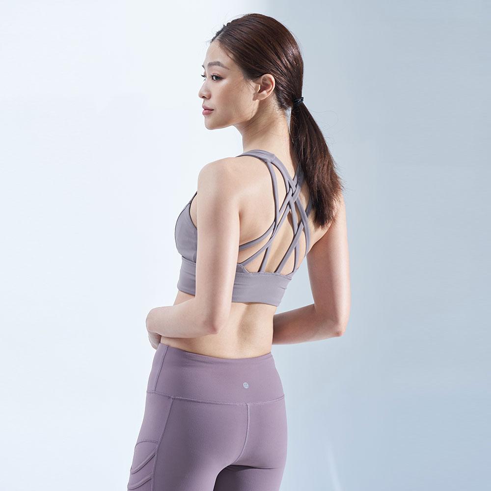 交織星塵中強度下胸加寬運動內衣-莫蘭灰