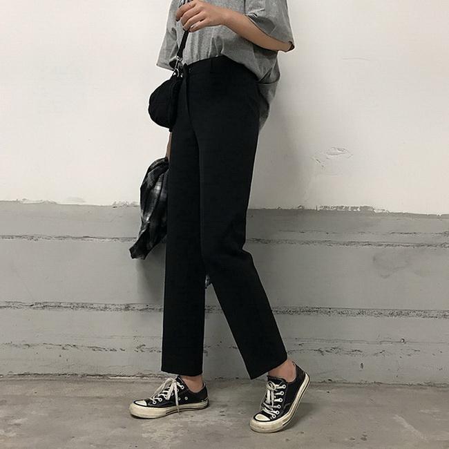 FOFU-韓版百搭高腰素面直筒顯瘦西褲休閒褲女【08SG04572】