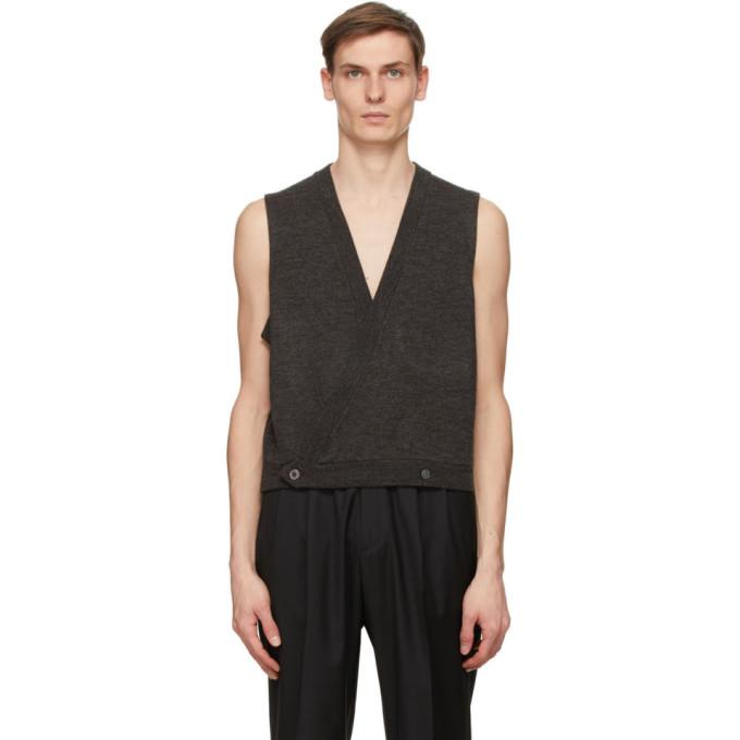 Winnie New York 灰色 Vest 双排扣羊毛开衫
