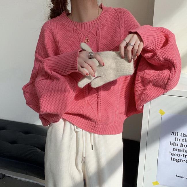 FOFU-韓國百搭寬鬆慵懶風麻花圓領套頭單穿內搭毛衣【08SG04586】