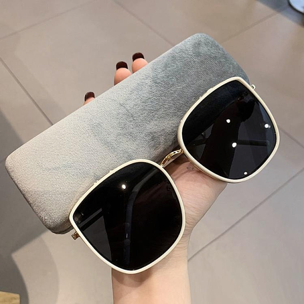 GM墨鏡大臉顯瘦明星同款太陽眼鏡女網紅復古韓版圓臉白【免運快出】