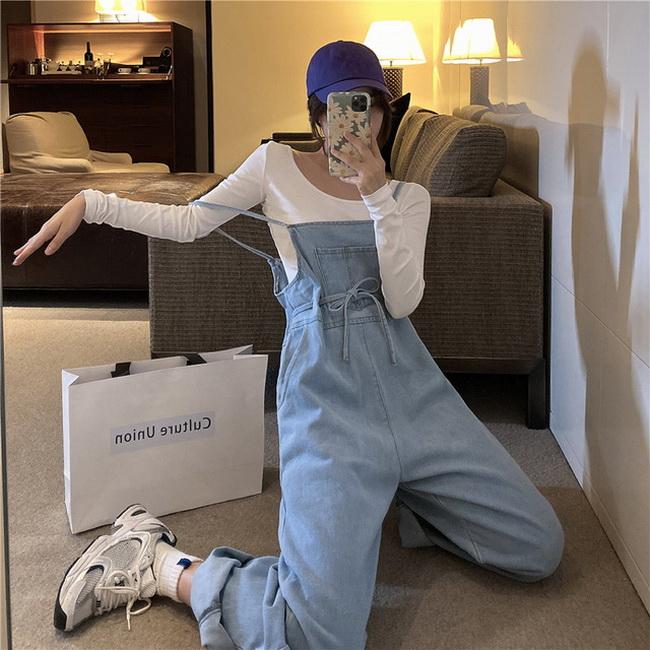 FOFU-高腰顯瘦直筒牛仔背帶褲女韓版寬鬆【08SG04841】