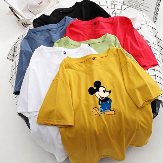 上衣 圓領 學院風糖果色卡通印花情侶純棉短袖寬鬆T恤R028.286.胖胖美依