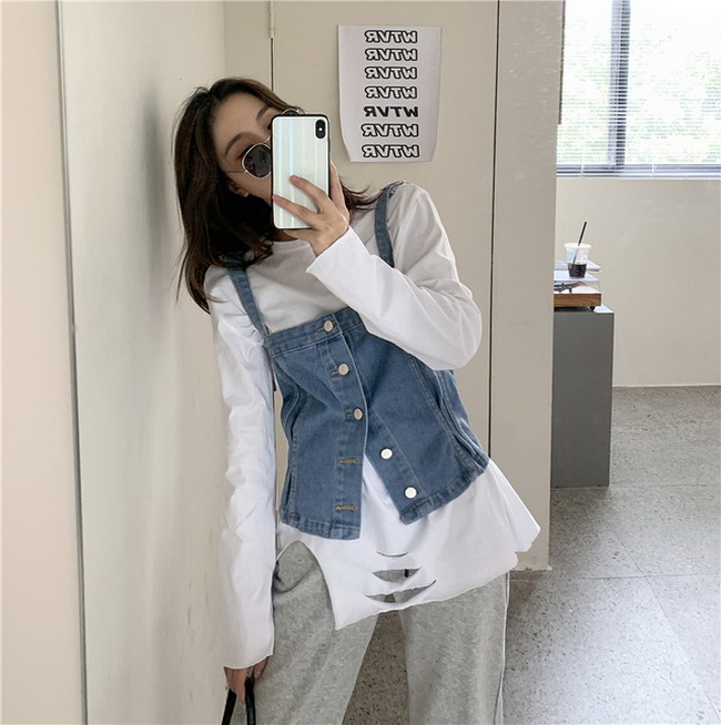 FOFU-個性牛仔吊帶背心女外穿小心機短版上衣【08SG04936】