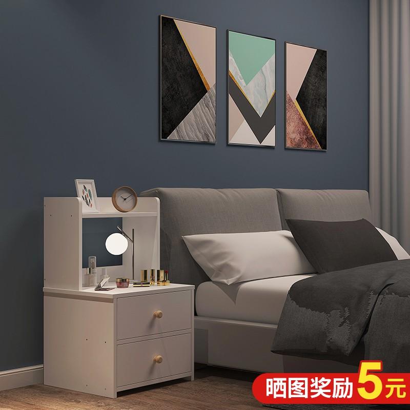 床頭柜北歐ins風簡約置物架小型臥室收納柜經濟型簡易床邊儲物柜