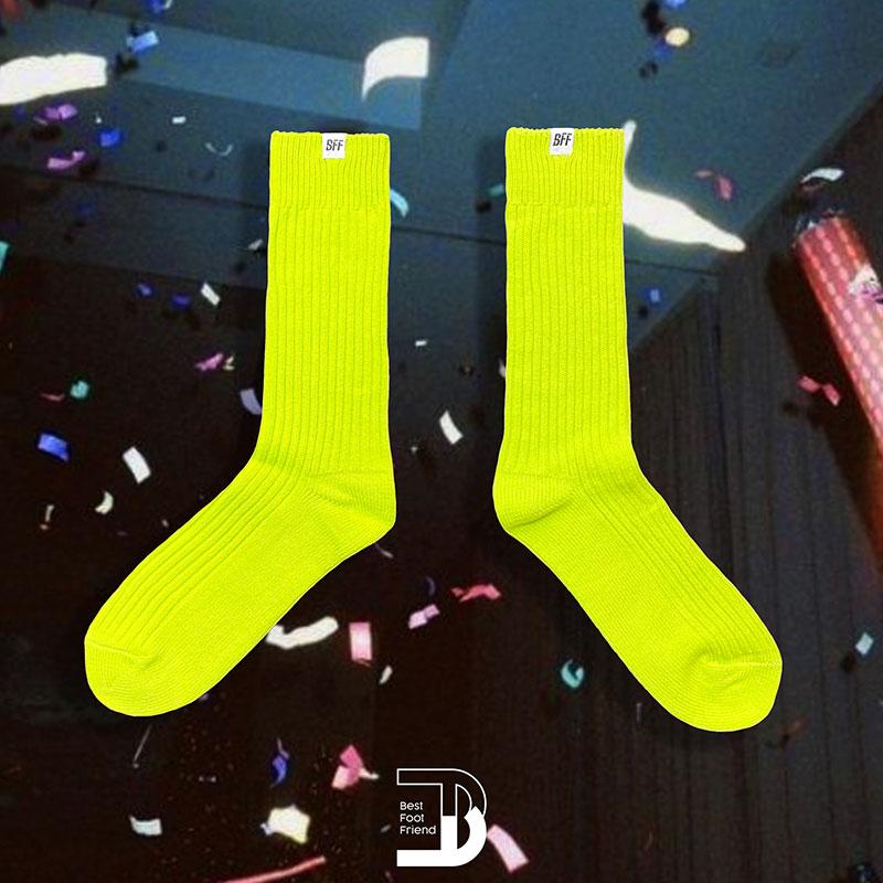 BEST FOOT FRIEND - BF210001-GN 純色泡泡襪 BFF 中筒襪 / 小腿襪 (螢光綠)