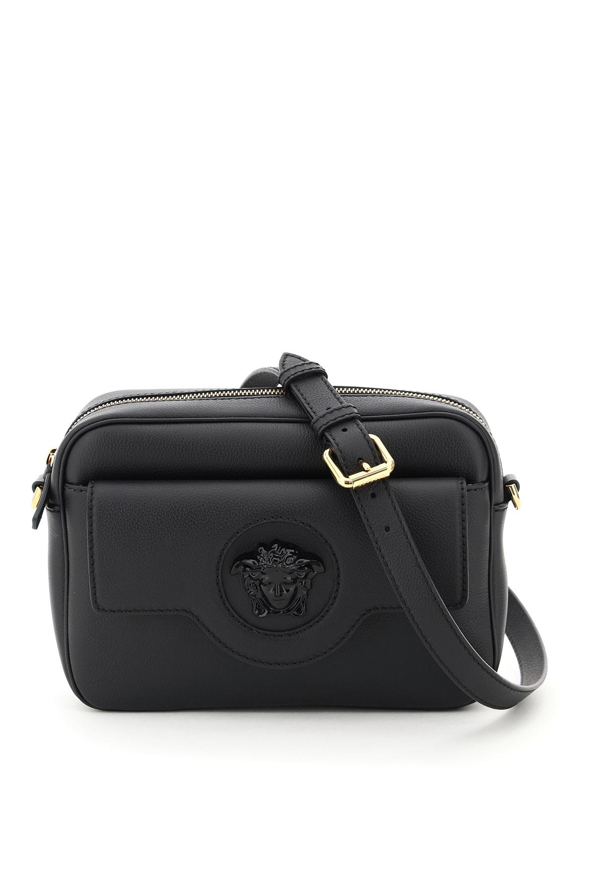VERSACE LA MEDUSA CAMERA BAG OS Black Leather