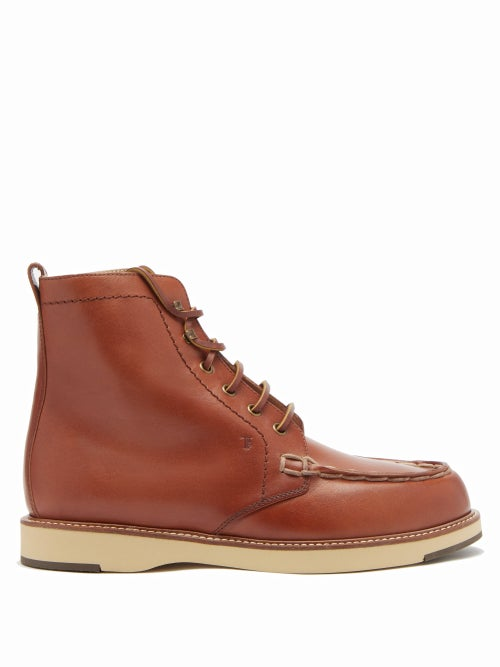 Tod's - Topstitched Leather Ankle Boots - Womens - Tan