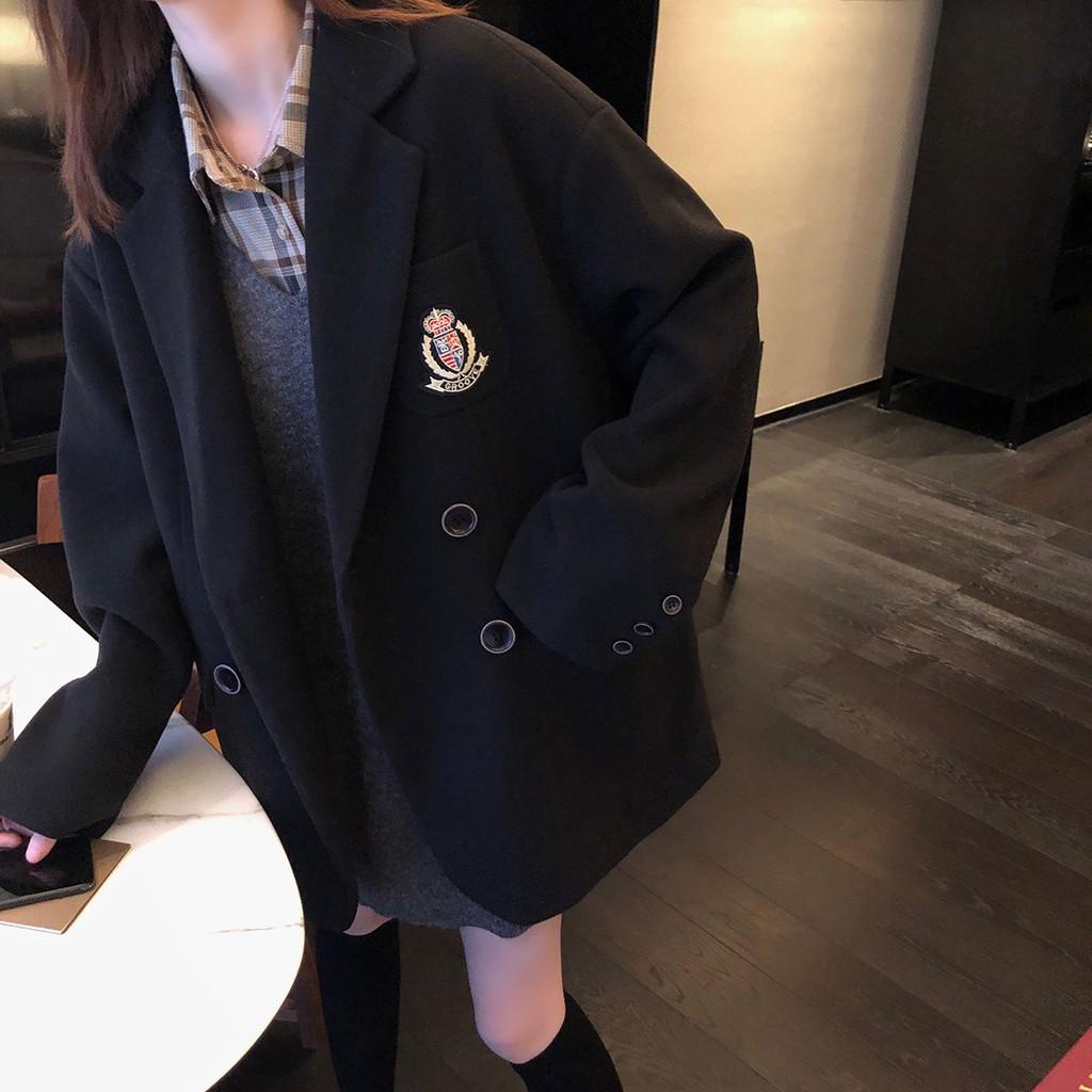 ✻✼☒毛呢外套黑色中長款徽章學院風女西裝領呢子大衣2020秋冬新款
