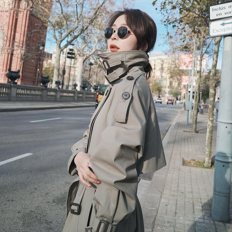 (SQ)單里加棉風衣女中長款2020秋冬新款韓版寬松氣質小個子大衣外套