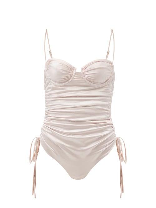 Isa Boulder - Nina Ruched Metallic Swimsuit - Womens - Light Pink