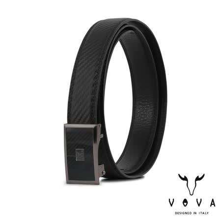【VOVA沃汎】台灣總代理 時尚紳士鏡面造型自動扣皮帶-鎗色/VA008-003-GU