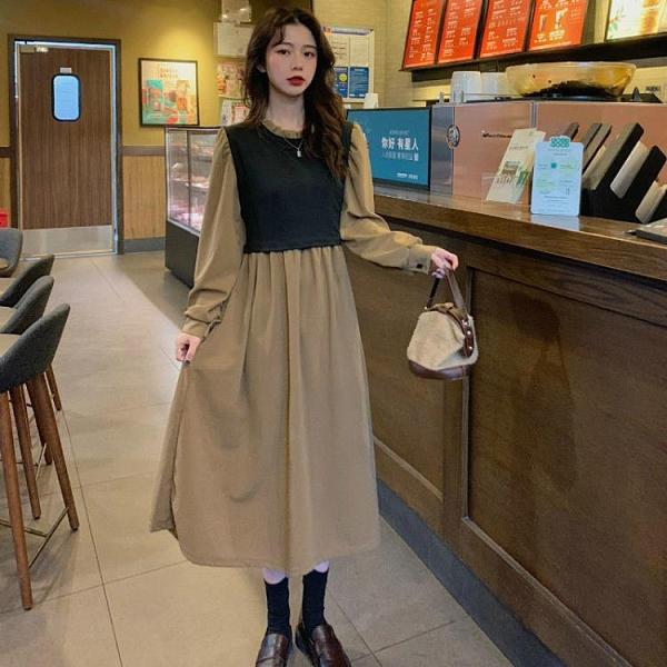 春裝2021年新款胖mm早春法式洋裝子顯瘦穿搭假兩件套【免運快出】