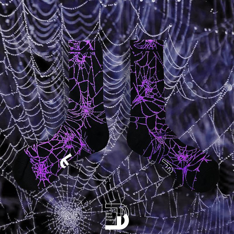 BEST FOOT FRIEND - BF200037-PL SPIDER 蜘蛛網 BFF 中筒襪 / 小腿襪 (黑紫)