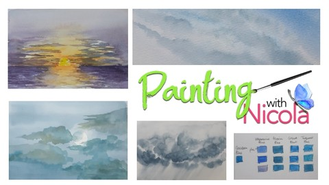 Paint SKIES & CLOUDS in watercolor. Easy tricks to help you.