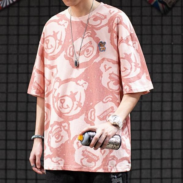 日系原宿風情侶裝滿印小熊純棉半袖體恤BF街頭嘻哈寬鬆短袖T恤男【快速出貨】