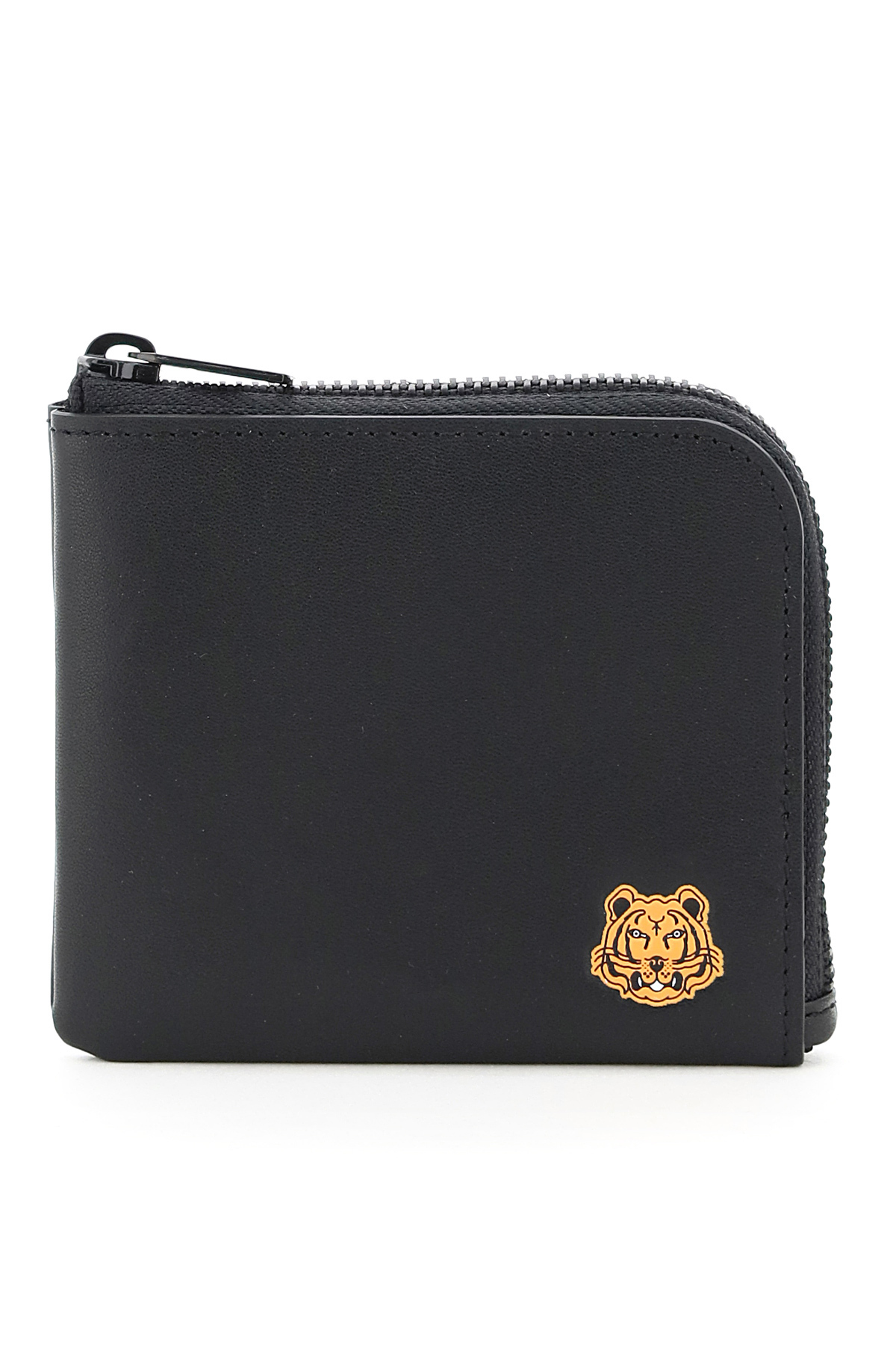 KENZO SMALL ZIP WALLET WITH TIGER OS Black, Orange Leather