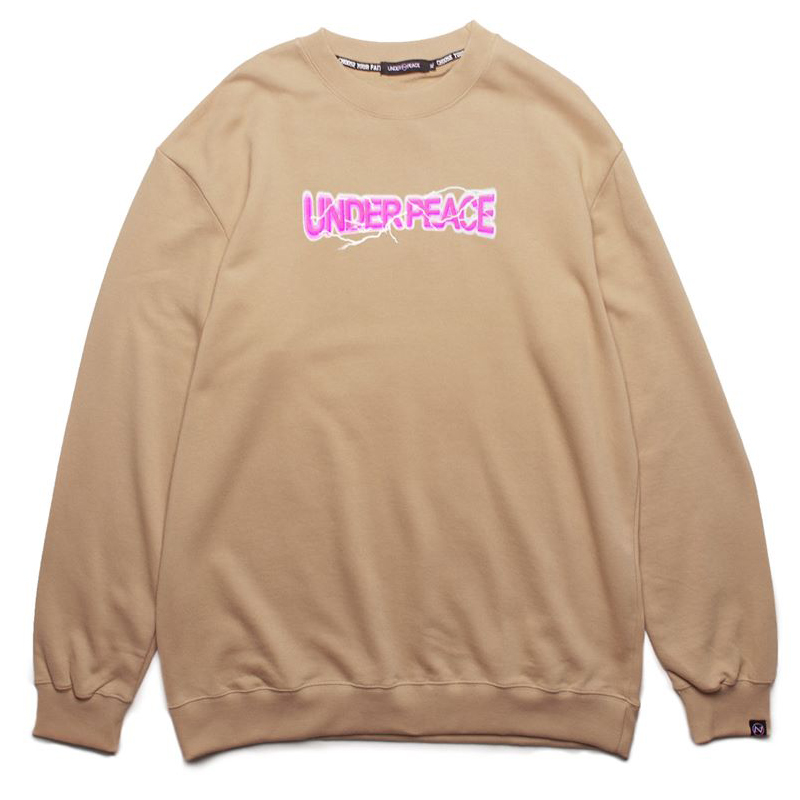 UNDER PEACE - 19AW TESLA / SWEATER 閃電LOGO 大學T (卡其)