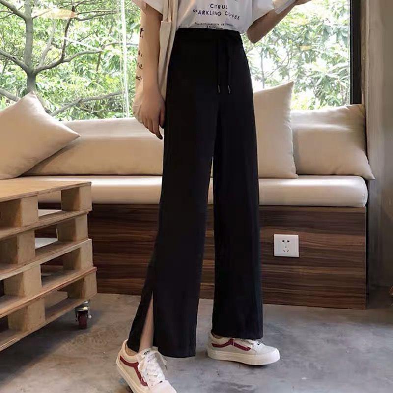 [yjq]春夏韓版寬松直筒百搭高腰大碼闊腿褲顯瘦九分黑色休閑褲子女學生