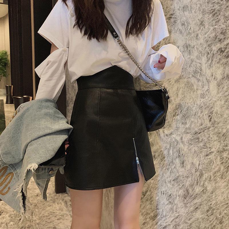 【現貨下殺】港味短裙女2020新款韓版PU皮裙高腰顯瘦百搭a字半身裙包臀裙子秋