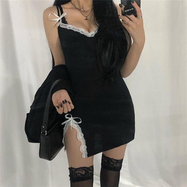 夜店洋裝 ROCKMORE黑色性感蕾絲花邊吊帶連身裙chic夜店V領包臀短裙打底裙 非凡小鋪 新品