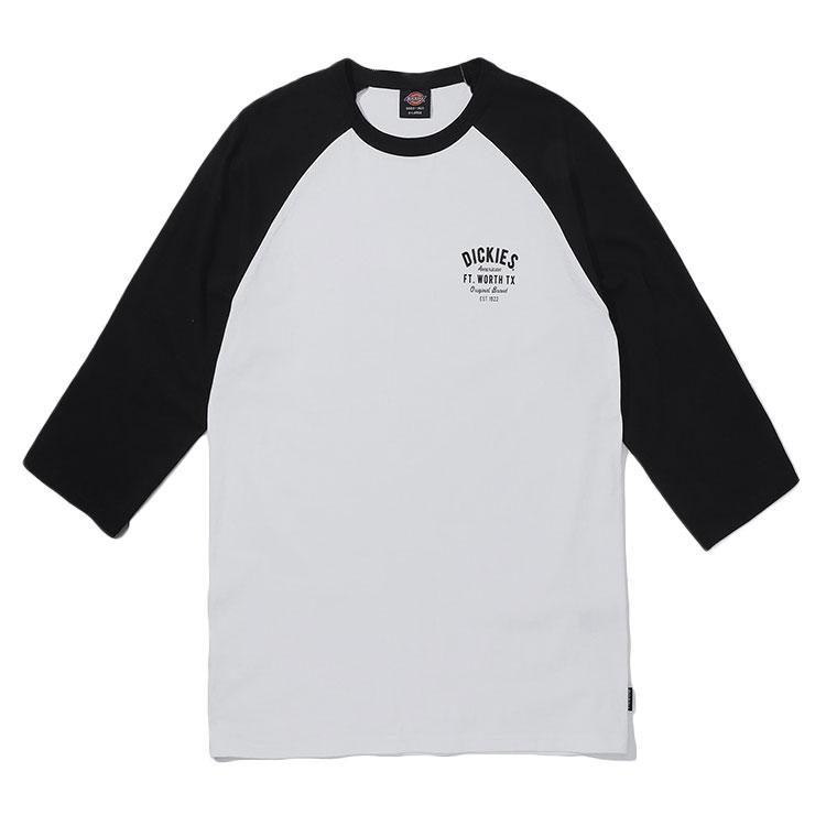 【DICKIES】韓國限定 DSQ1UTLT423 RAGLAN SLEEVE 左胸文字 七分袖T (黑白)