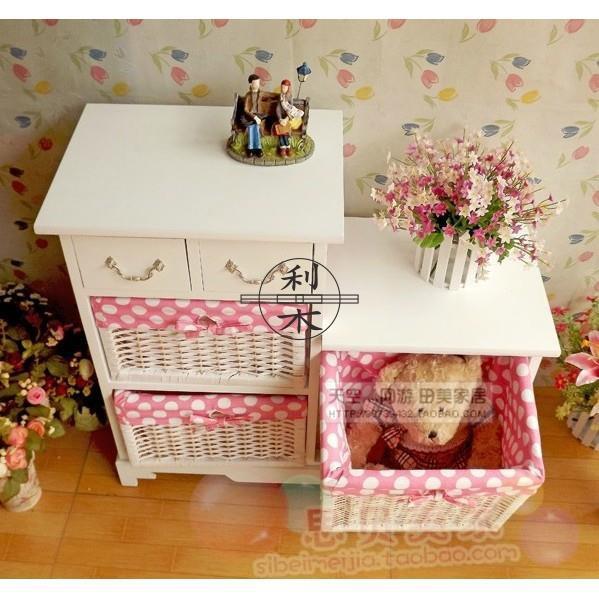 【可發貨到付款】簡約臥室白色床頭柜子客廳柜美式田園藤編抽屜式收納儲物柜小斗柜