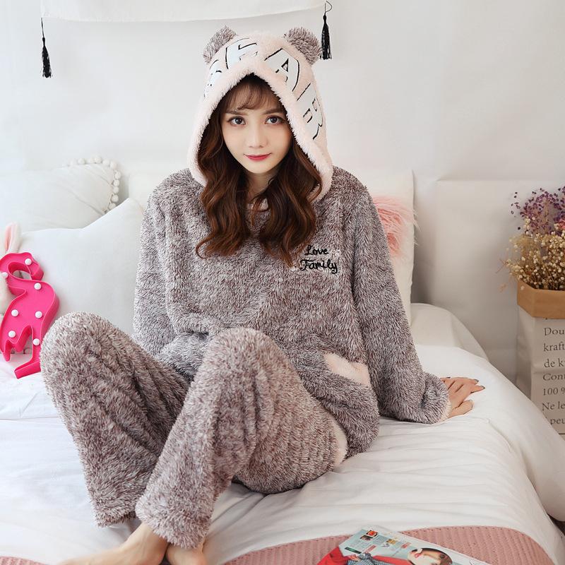 冬季珊瑚絨睡衣女士加厚加絨保暖秋冬款甜美可愛法蘭絨冬天家居服