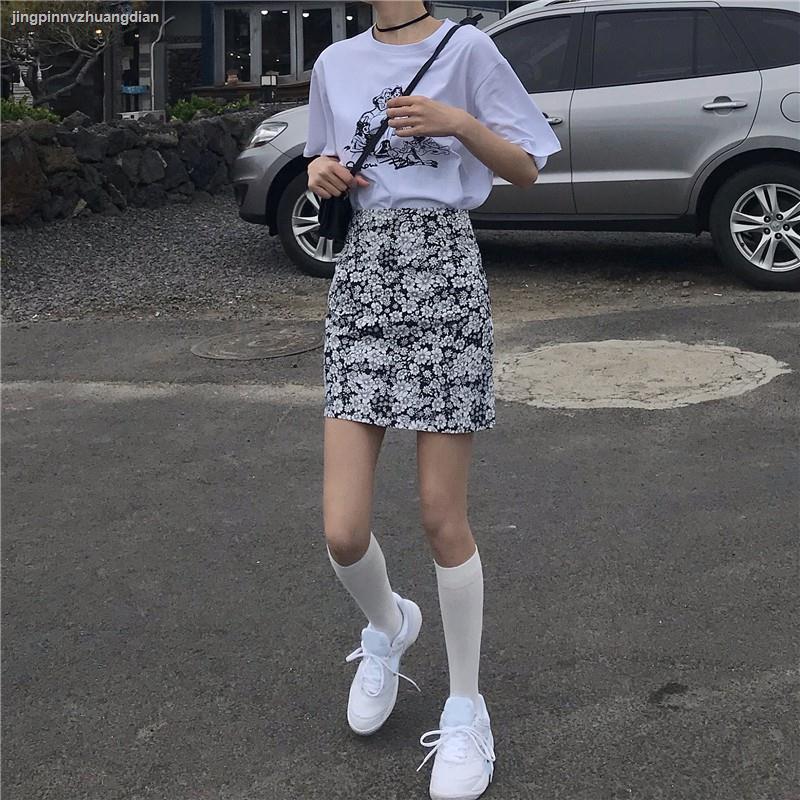 【滿額免運】☍▼高腰碎花半身裙 包臀A字裙 花色短裙子