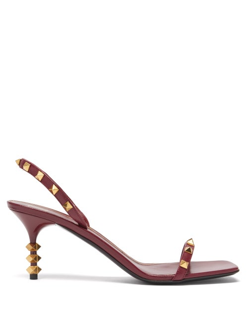 Valentino Garavani - Rockstud Square-toe Leather Slingback Sandals - Womens - Burgundy
