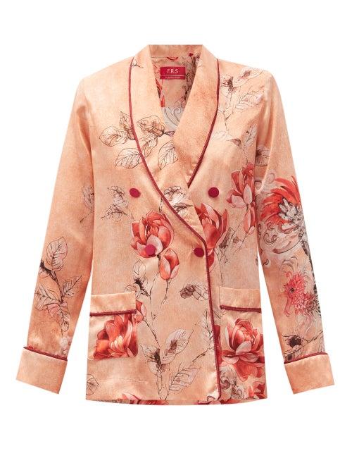 F.r.s - For Restless Sleepers - Ate Phoenix-print Silk-satin Jacket - Womens - Pink Print