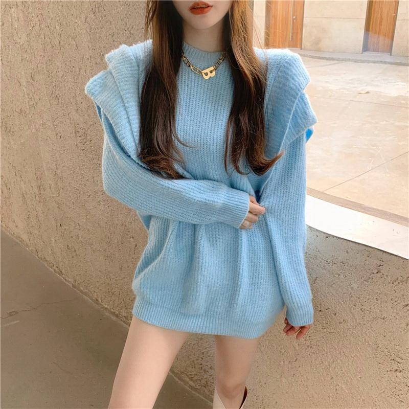 VIVILIAN網美推薦甜美飛袖寬鬆慵懶風針織洋裝-藍