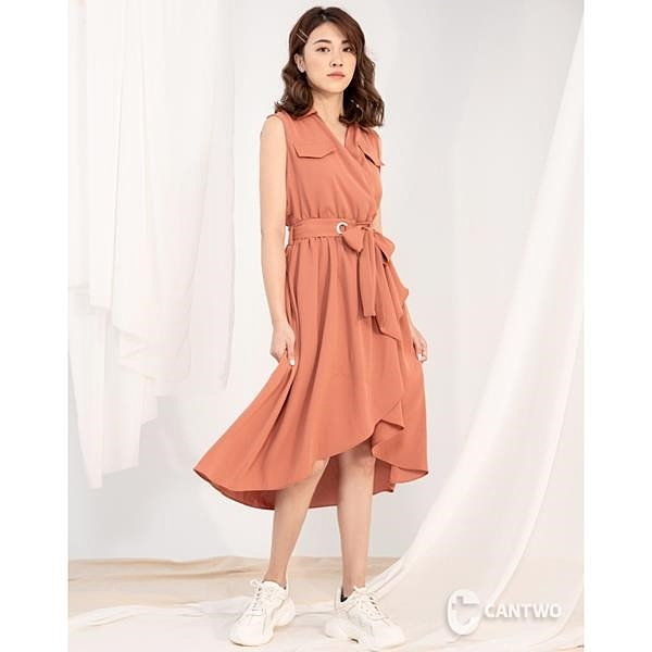 【南紡購物中心】CANTWO俐落綁結襯衫洋裝(共二色)
