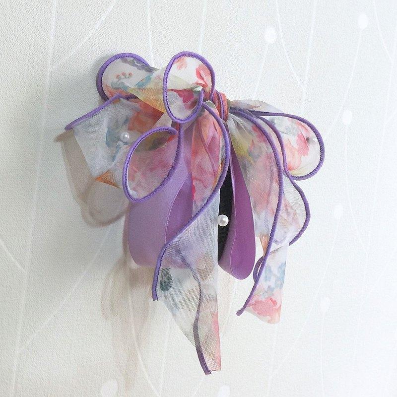 紫/ 夢幻透紗珍珠香蕉夾 相交夾 鯊魚夾 自動夾 馬尾夾 大腸圈