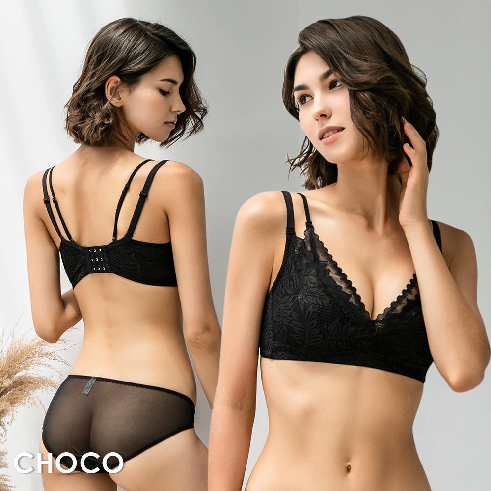 密探伊甸園‧無鋼圈薄襯層次雙拉提蕾絲內衣(黑色) 70B~90D Choco Shop
