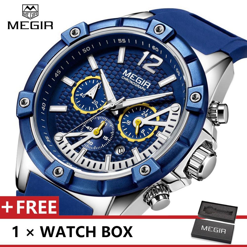 MEGIR 2083頂級奢華男士模擬時尚運動石英手錶Jam Tangan Lelaki
