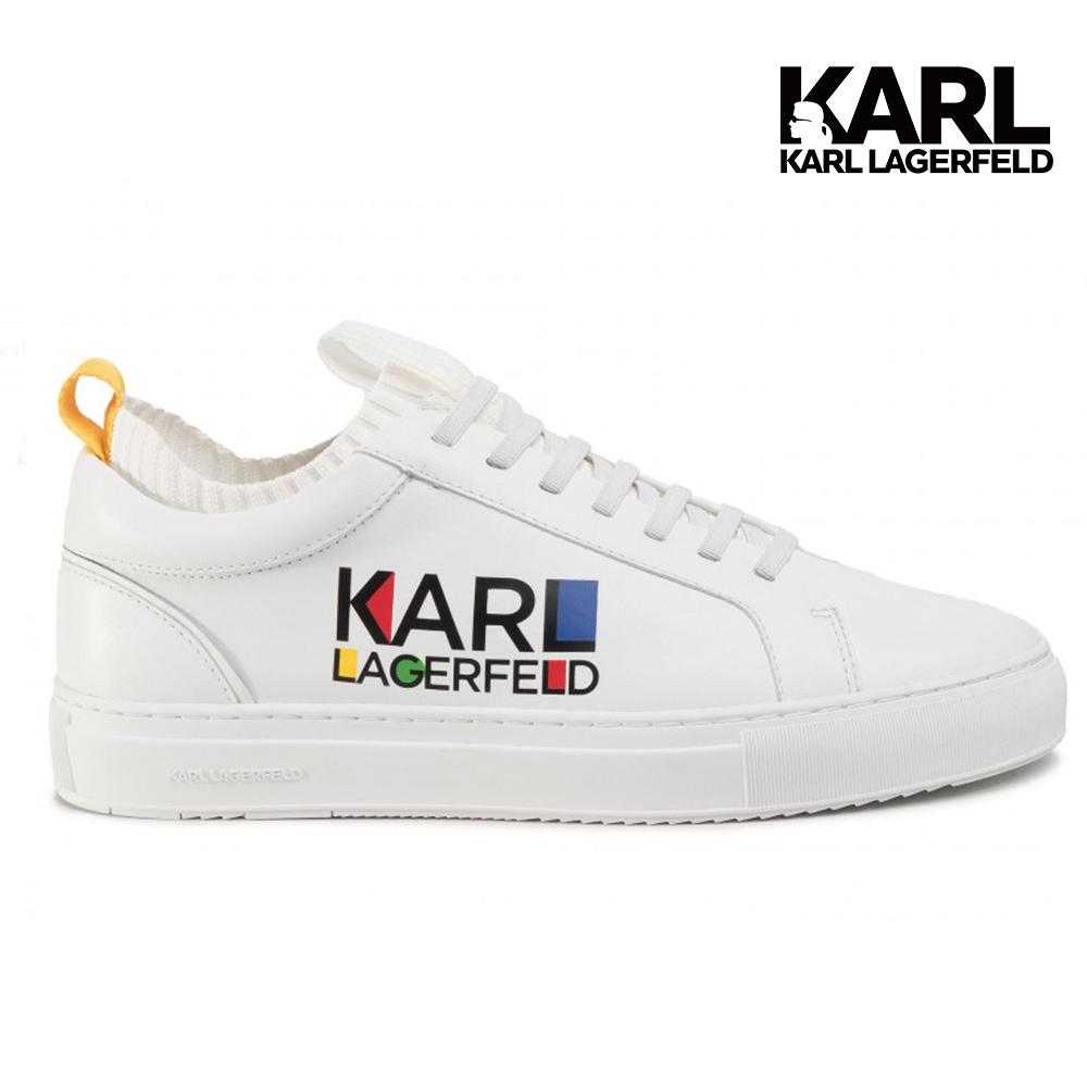 Karl Lagerfeld 卡爾 老佛爺 男鞋 KUPSOLE HAUS LOGO襪套休閒運動男鞋-白  (原廠公司貨)