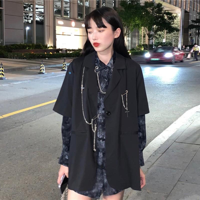 #秋季韓版2020新款設計感暗黑系寬松中長款五分袖西裝外套女兩件套