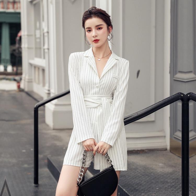 VIVILIAN日系經典條單排扣優雅系帶OL西裝式連體闊腿褲