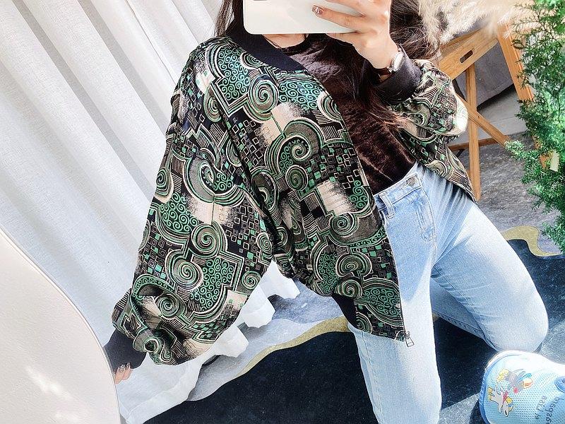 青青草綠漩渦絲綢緞面光感圖騰夢遊園 古董拉鍊棒球外套 vintage
