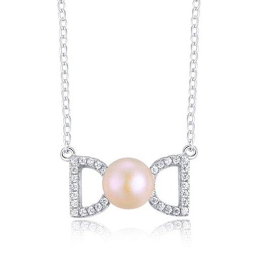 【米蘭精品】925純銀項鍊+珍珠墜飾-雙D造型鑲鑽生日情人節禮物女配件銀飾73w9