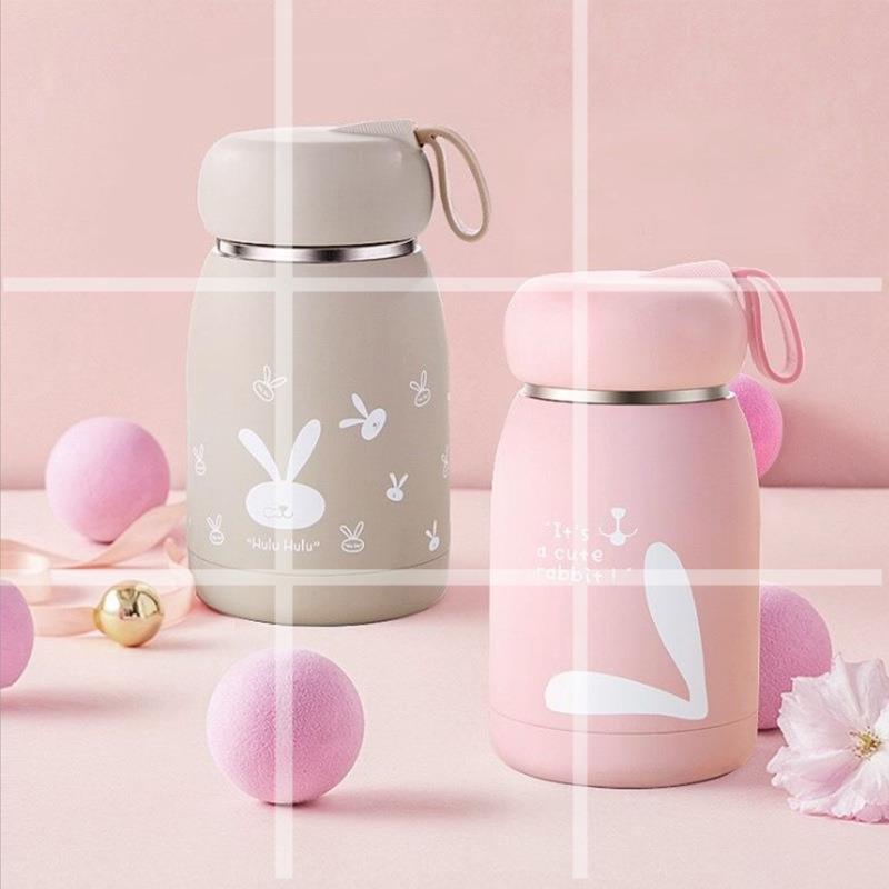 創意魔法兔保溫杯可愛女學生水杯真空不銹鋼攜帶男女兒童大肚杯子