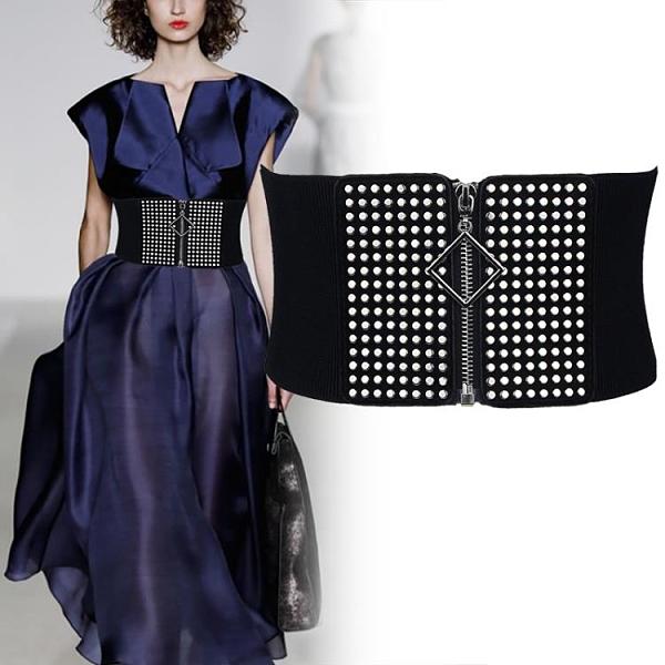 簡約百搭拉鏈腰封襯衫束腰高腰女加寬腰帶鬆緊彈力裝飾連身裙黑色百分百