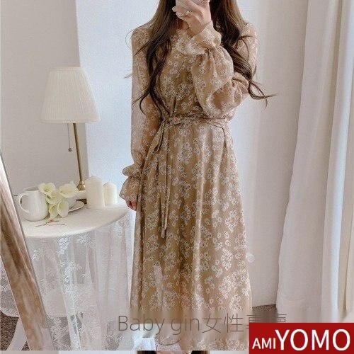 韓版秋裝雪紡洋裝V領收腰連身裙碎花長洋裝