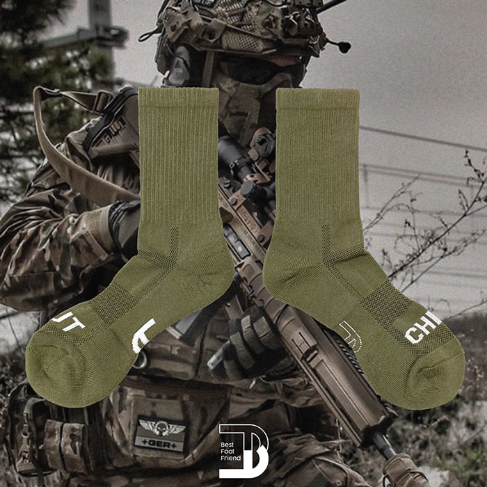 BEST FOOT FRIEND - BF200011-19 標語素面 BFF 中筒襪 / 小腿襪 (墨綠)