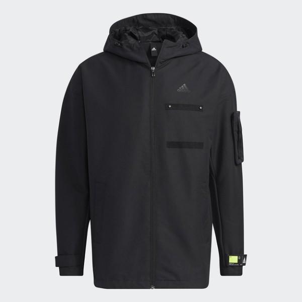 [ROSE] ADIDAS 男裝 連帽 外套 黏扣帶袖口 拉鍊口袋 黑 GP0982 特價3199 20/12